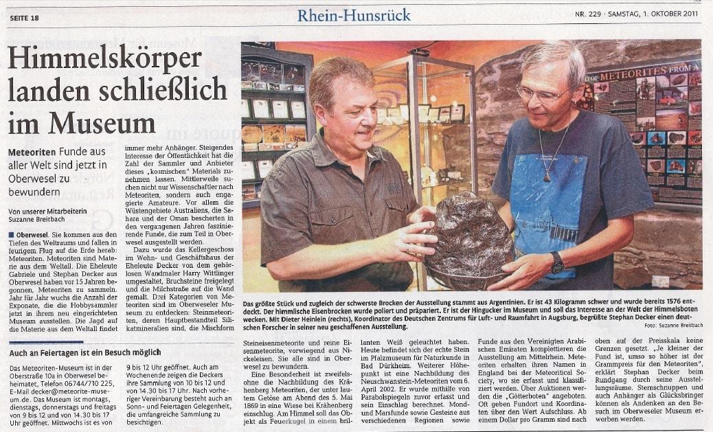 Rhein-Hunsrück-Zeitung vom 01.10.2011: Himmelskörper landen schließlich im Decker Meteorite-Museum